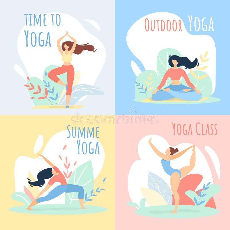 Insieme all'aperto delle insegne di sport della classe di yoga di ora legale royalty illustrazione gratis