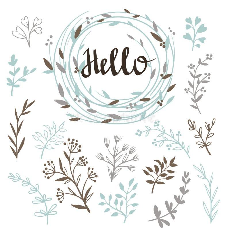 Insieme alla moda di vettore delle piante e della corona con una calligrafia ciao illustrazione vettoriale