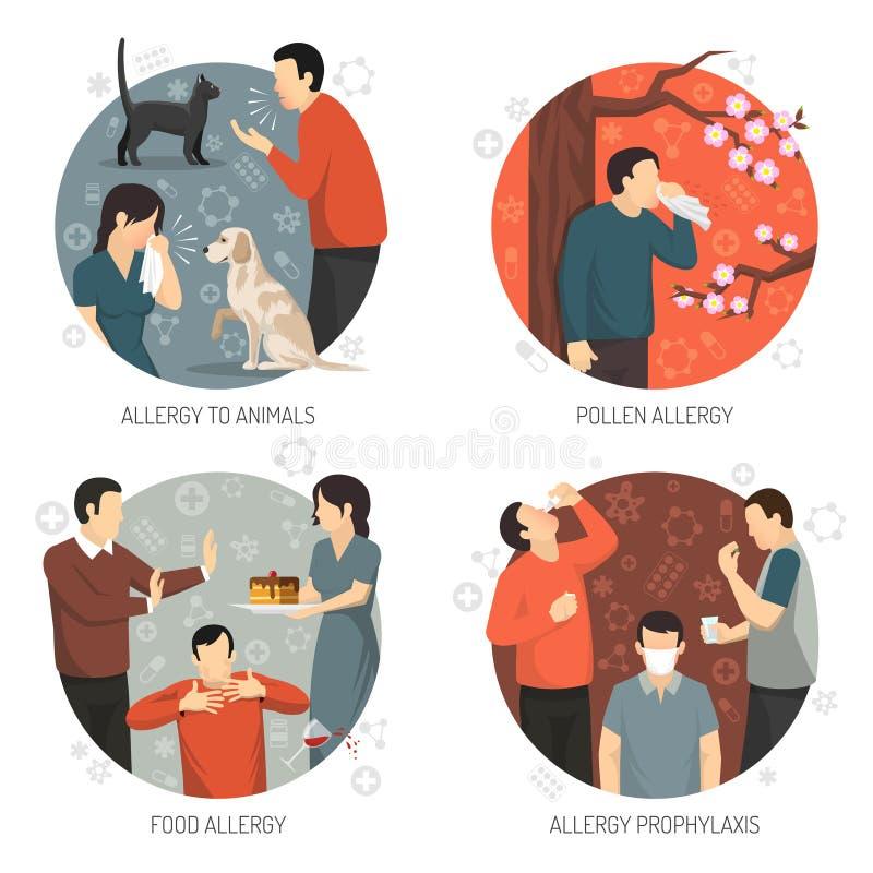 Insieme allergico dell'icona di progettazione illustrazione di stock