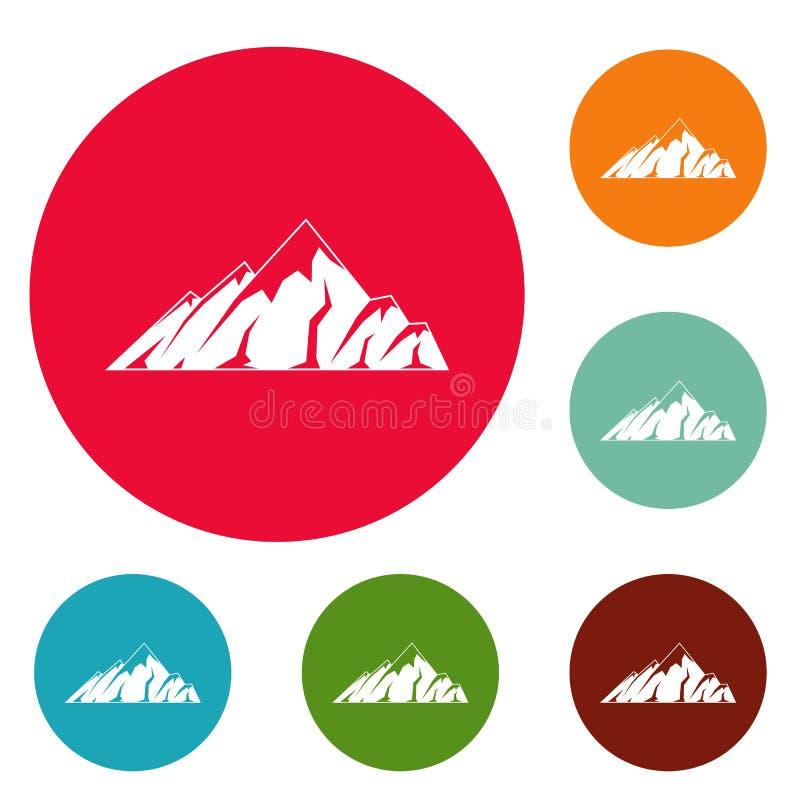 Insieme alpino del cerchio delle icone della montagna illustrazione di stock