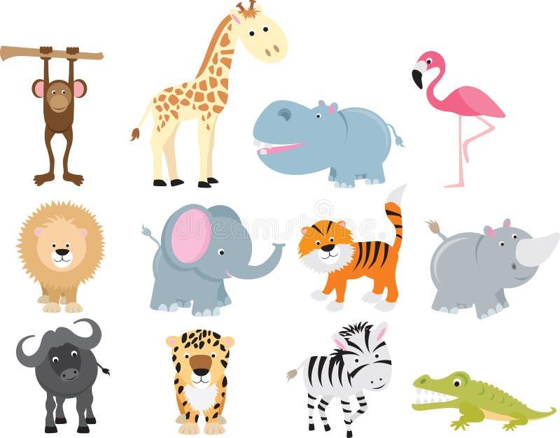 Insieme animale del fumetto di safari selvaggio sveglio royalty illustrazione gratis