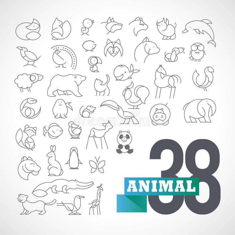 Insieme animale minimalistic pianamente semplice di logo di vettore illustrazione di stock