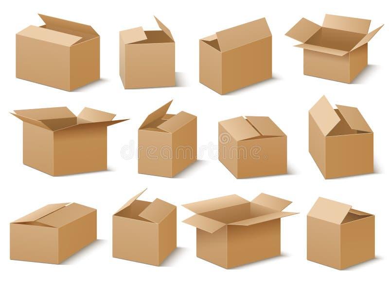 Insieme aperto e chiuso di vettore delle scatole di cartone illustrazione vettoriale