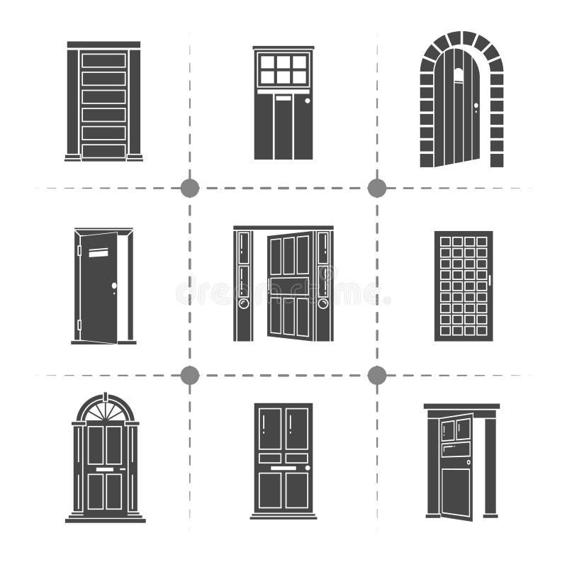 Insieme aperto ed a porta chiusa delle icone di vettore delle siluette illustrazione vettoriale
