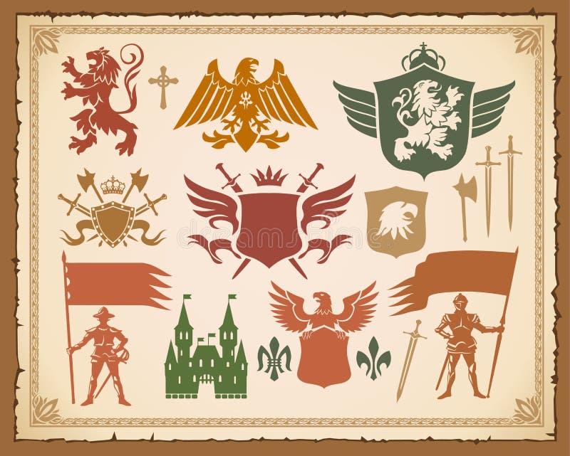 Insieme araldico con i leoni, cavalieri, parti superiori illustrazione vettoriale