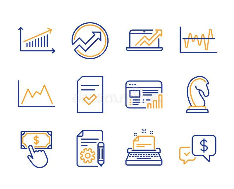 Insieme archivio, delle icone controllati della macchina da scrivere e del diagramma Rapporto di web, analisi di riserva e segni  illustrazione di stock