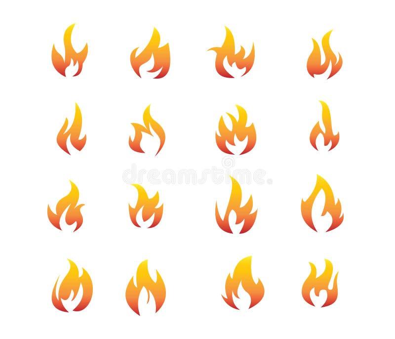Insieme ardente arancio rosso di vettore di logo di clipart del fuoco illustrazione di stock