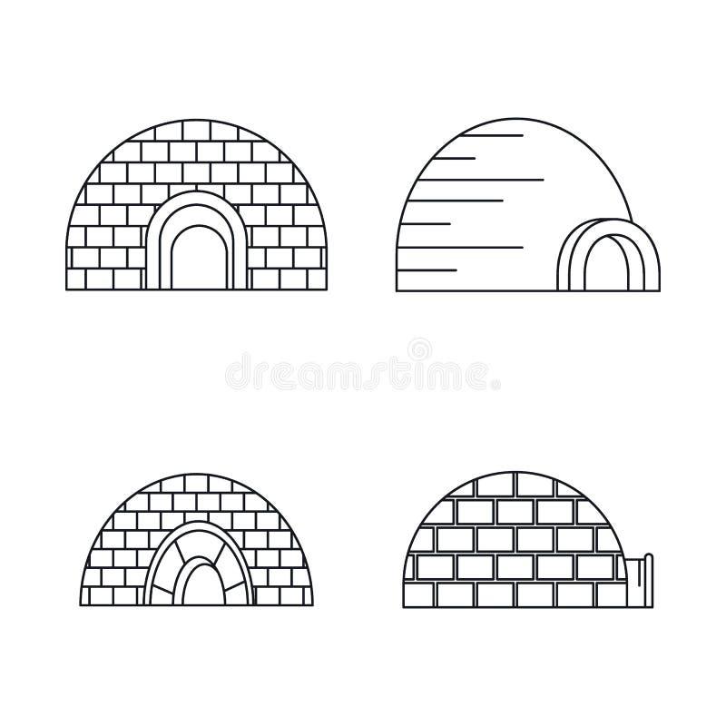 Insieme artico dell'icona dell'iglù, stile del profilo illustrazione vettoriale