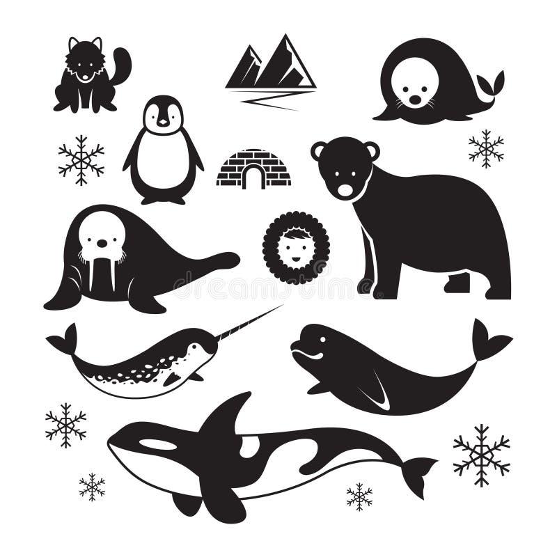 Insieme artico della siluetta degli animali royalty illustrazione gratis