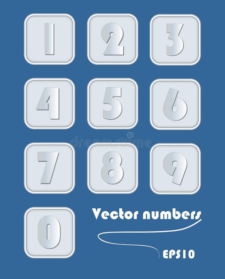 Insieme artistico di numero nella progettazione metallica Cifre negli elementi quadrati con l'angolo arrotondato Metallo d'argent illustrazione vettoriale