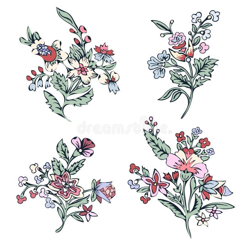 Insieme astratto del fiore, fiore variopinto di fantasia, piante di scarabocchio Per la progettazione delle stampe, tessuti, tatu illustrazione di stock