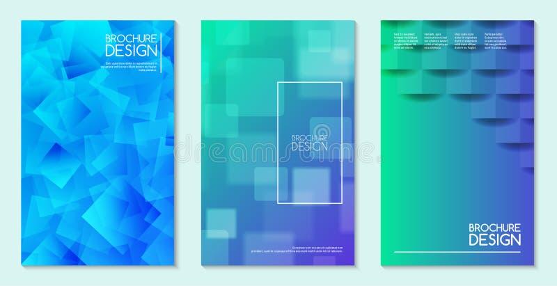 Insieme astratto delle carte, illustrazione di concetto della carta di vettore degli opuscoli Minimalistic e progettazione di col illustrazione vettoriale