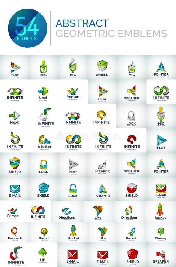 Insieme astratto di logo, raccolta delle icone geometriche moderne di affari, linea stile di scorrimento di forma illustrazione vettoriale