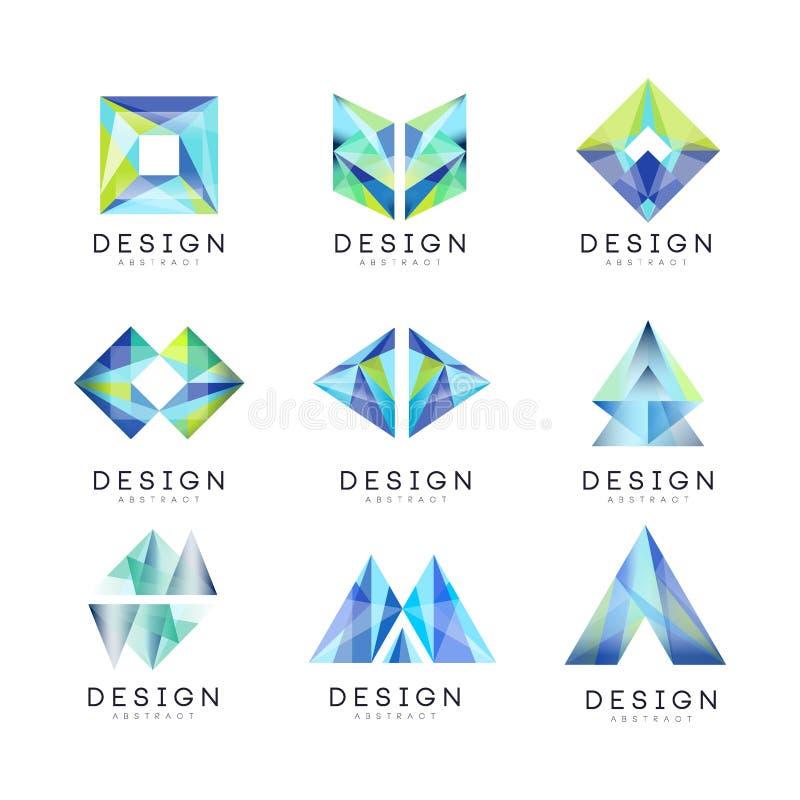 Insieme astratto di progettazione di logo, illustrazioni geometriche di vettore del distintivo della gemma illustrazione di stock