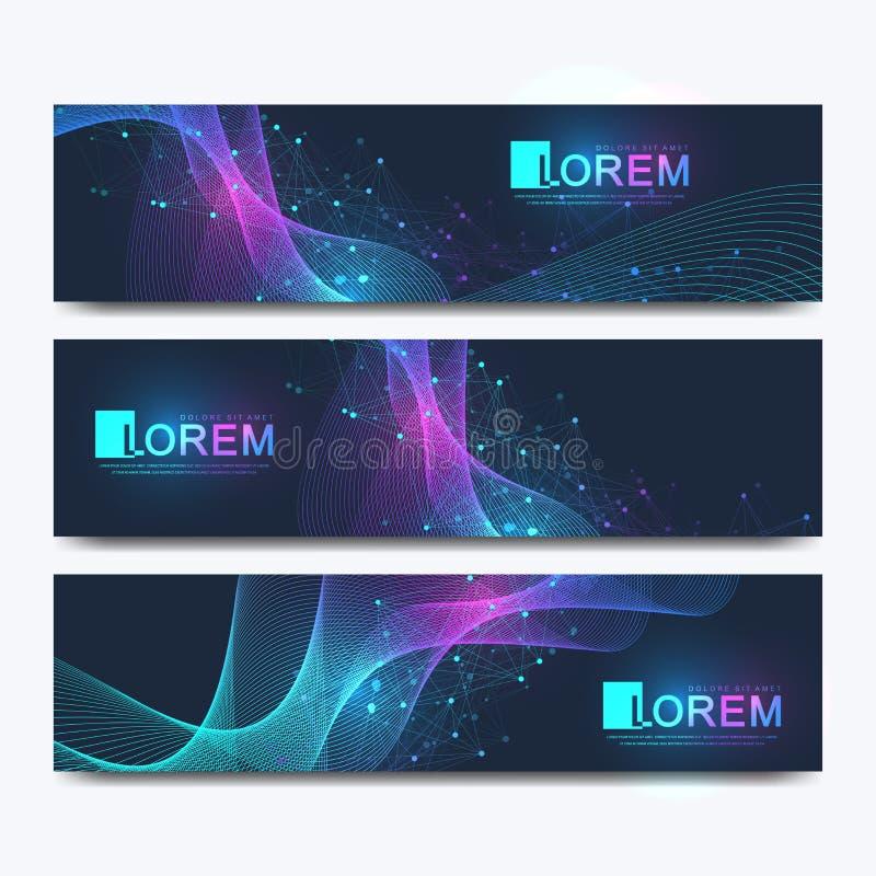 Insieme astratto di vettore delle insegne moderne del sito Web Fondo scientifico di cibernetica con onde dinamiche colorate, line illustrazione di stock