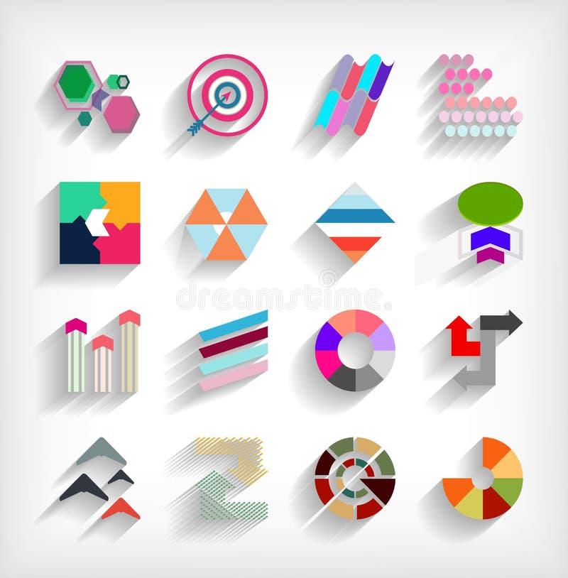insieme astratto pianamente geometrico dell'icona di affari 3d illustrazione vettoriale