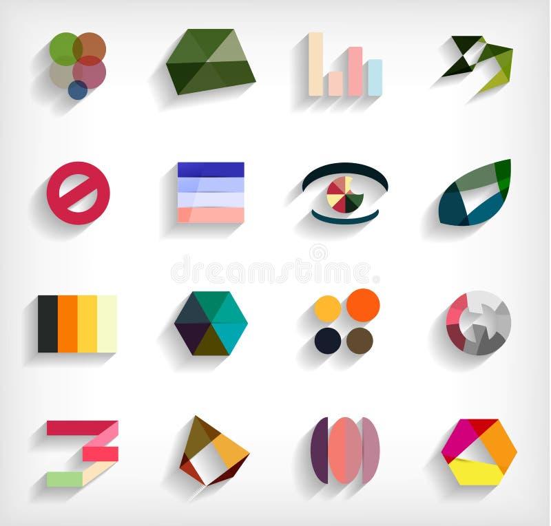 insieme astratto pianamente geometrico dell'icona di affari 3d illustrazione di stock