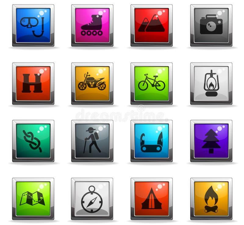 Insieme attivo dell'icona di ricreazione illustrazione di stock