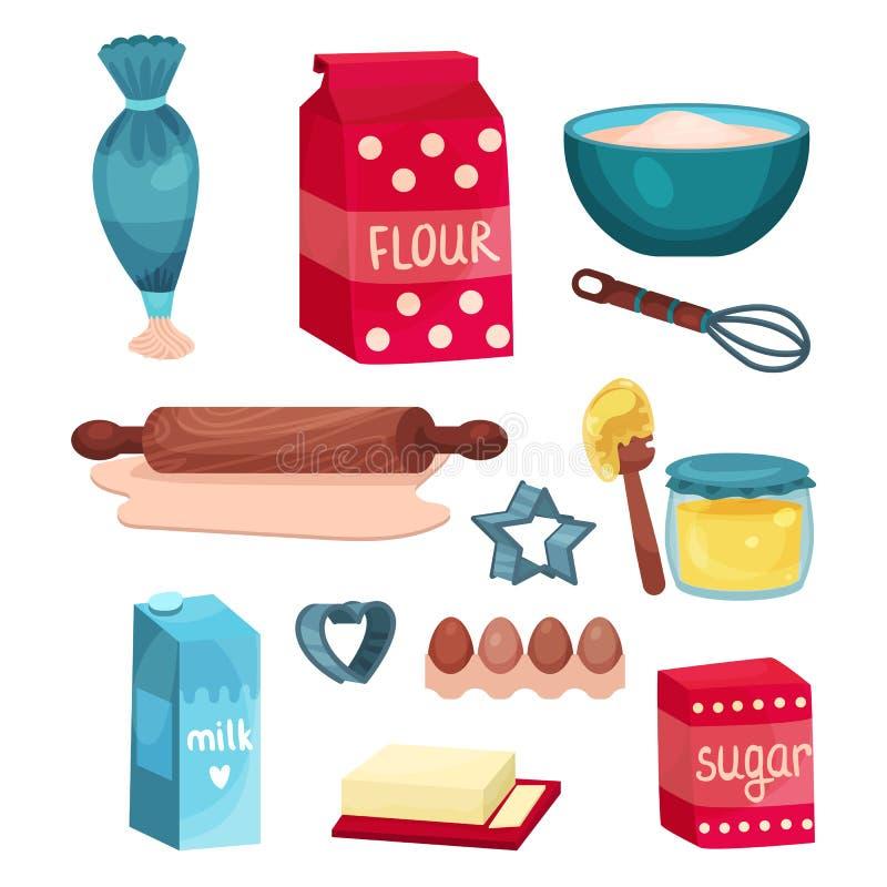 Insieme, attrezzature e ingredienti alimentari del forno per cuocere e la cottura delle illustrazioni di vettore illustrazione vettoriale