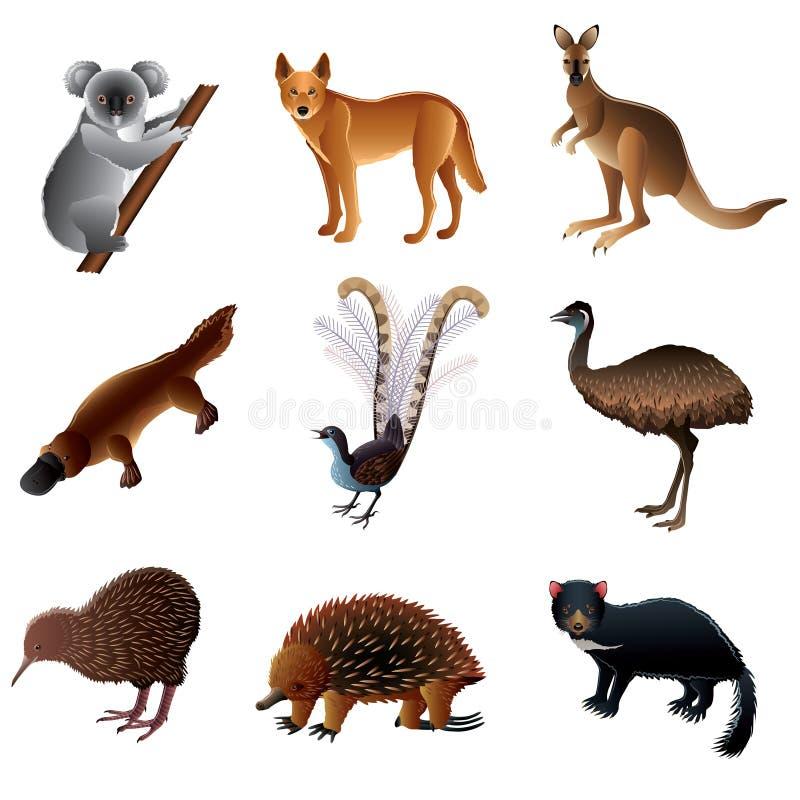 Insieme australiano di vettore degli animali royalty illustrazione gratis