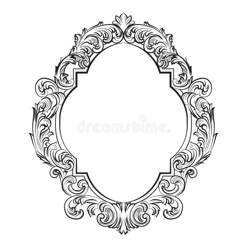 Insieme barrocco affascinante della struttura dello specchio di rococò royalty illustrazione gratis