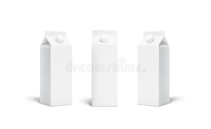 Insieme bianco in bianco del modello del coperchio del pacchetto del succo o del latte del rex royalty illustrazione gratis