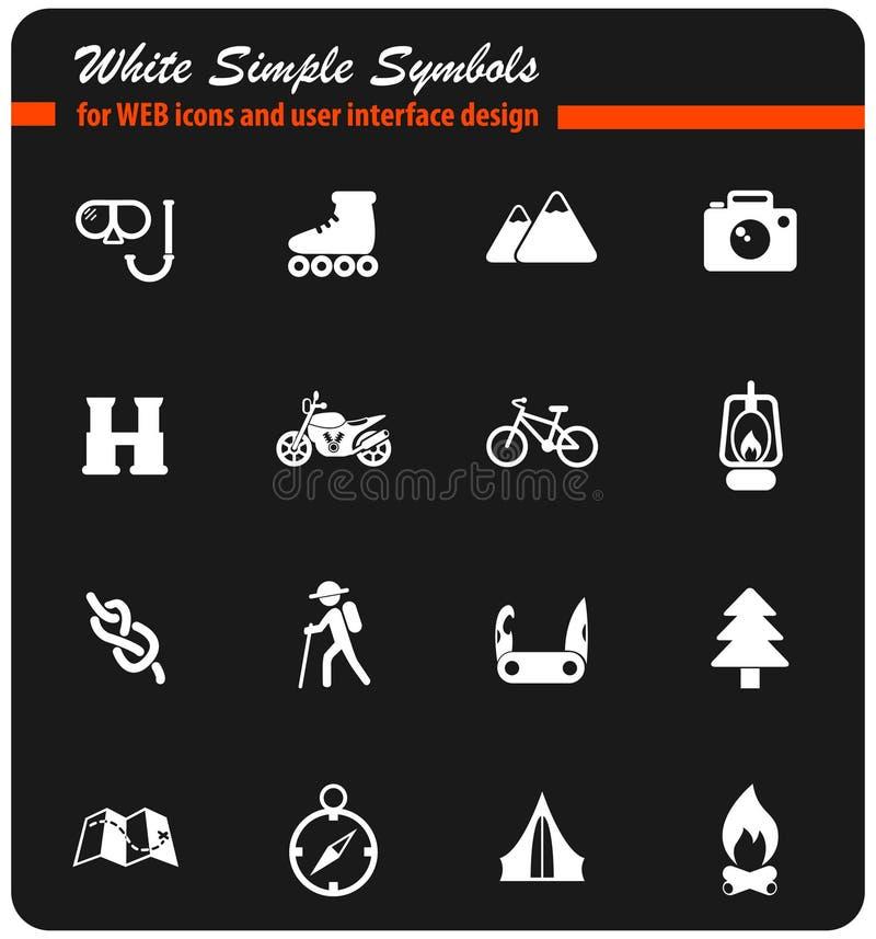 Insieme bianco dell'icona di ricreazione attiva royalty illustrazione gratis