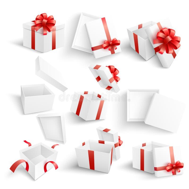 Insieme bianco dell'illustrazione di vettore dei contenitori di regalo nello stile realistico 3d illustrazione vettoriale