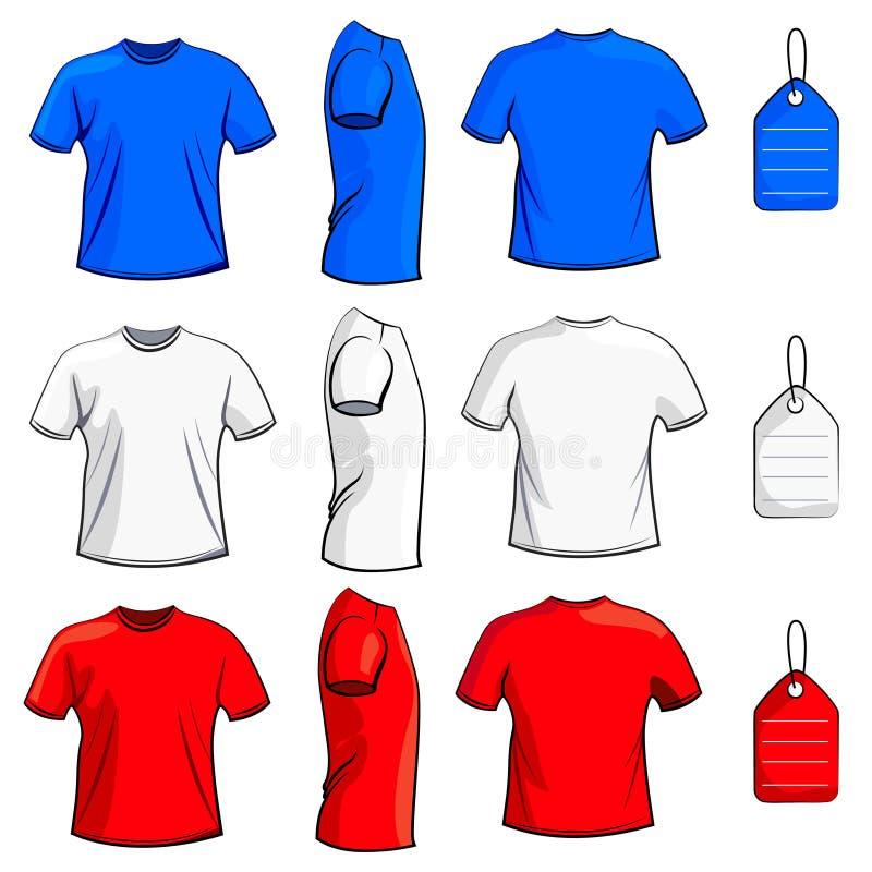 Insieme in bianco della maglietta illustrazione di stock