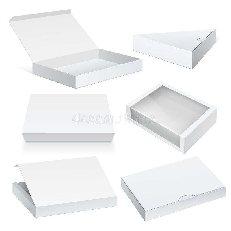 Insieme bianco della scatola di cartone del pacchetto illustrazione di stock