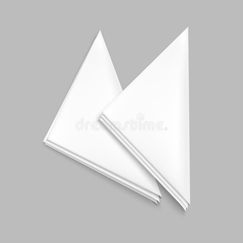 Insieme in bianco bianco dettagliato realistico del modello del modello del tovagliolo del ristorante 3d Vettore illustrazione vettoriale