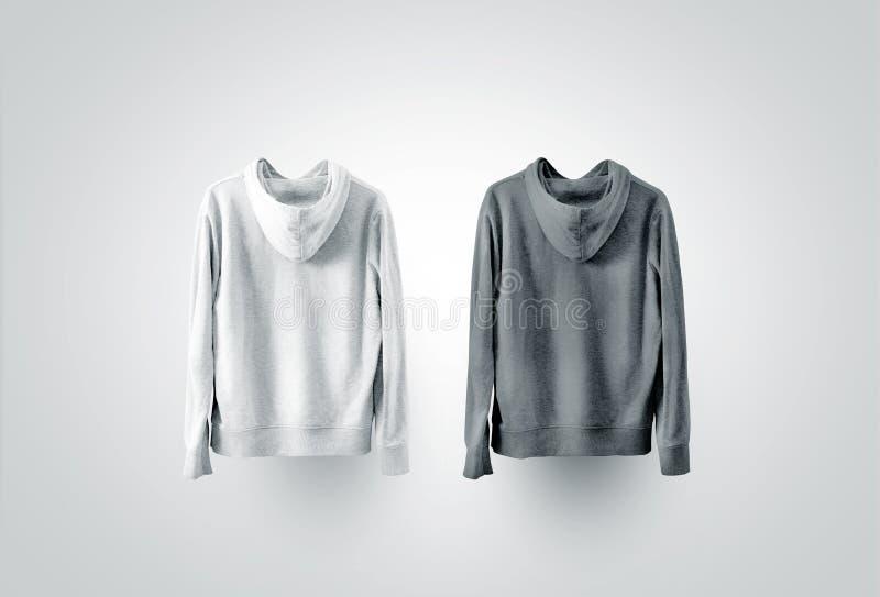 Insieme in bianco e nero in bianco del modello della maglietta felpata, vista laterale posteriore immagine stock