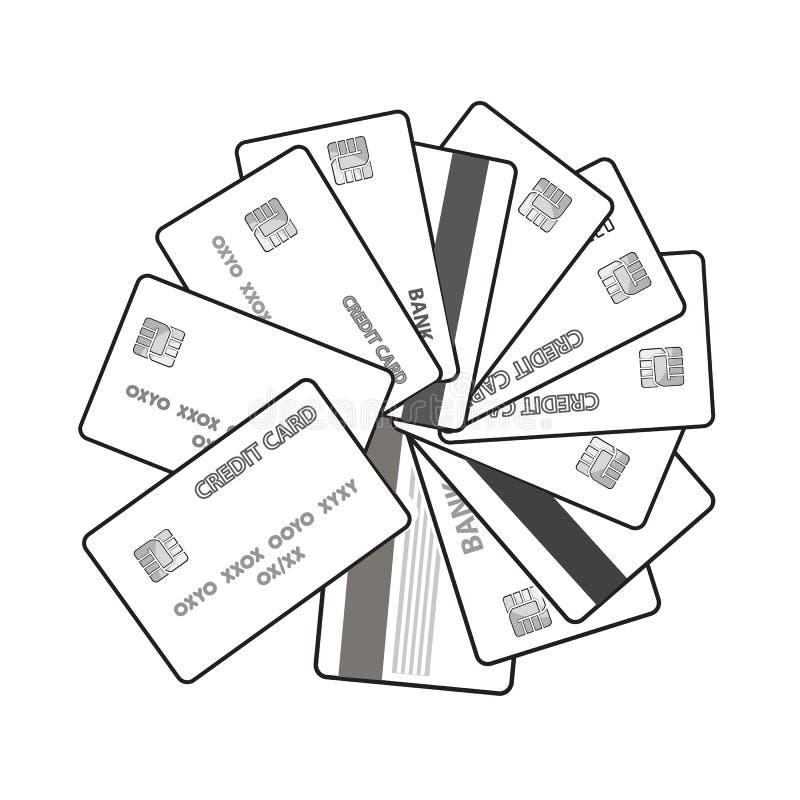 Insieme in bianco e nero dell'illustrazione di vettore delle carte di credito royalty illustrazione gratis