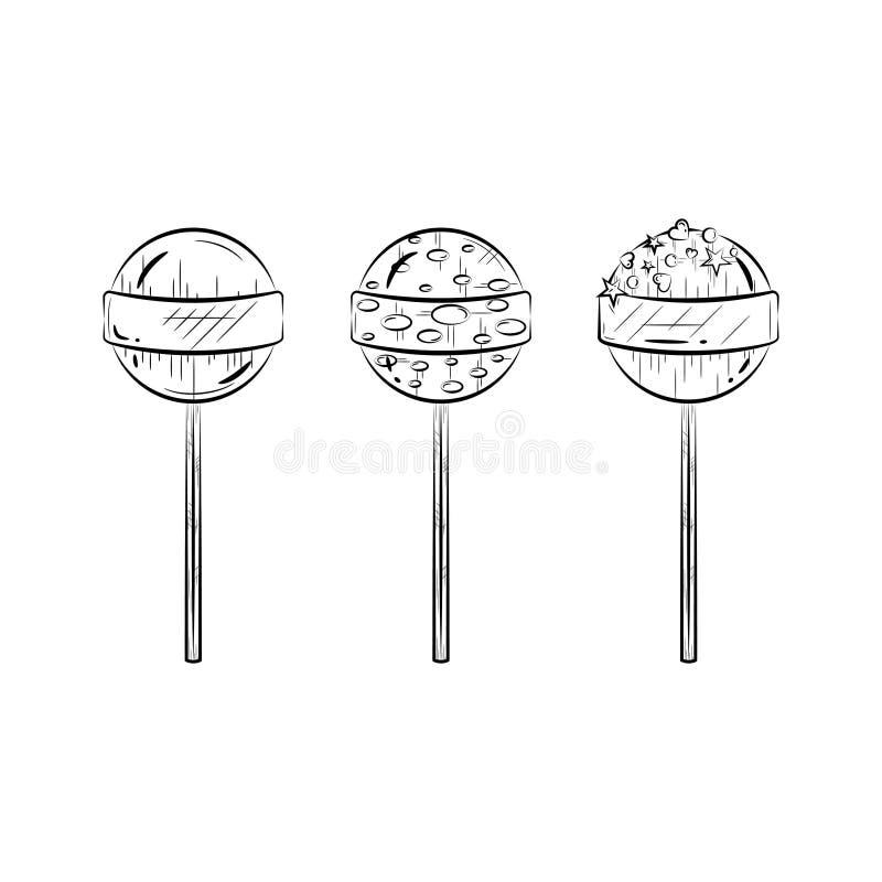 Insieme in bianco e nero della lecca-lecca Icona di Candy Linea arte semplice Illustrazione di vettore illustrazione vettoriale