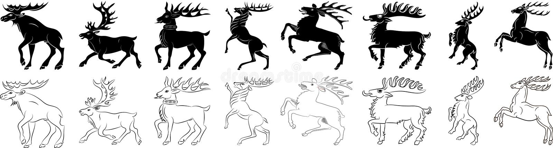 Insieme in bianco e nero della siluetta degli alci e dei cervi illustrazione vettoriale