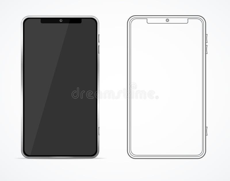 Insieme in bianco e nero in bianco dettagliato realistico del modello del modello del telefono 3d Vettore royalty illustrazione gratis