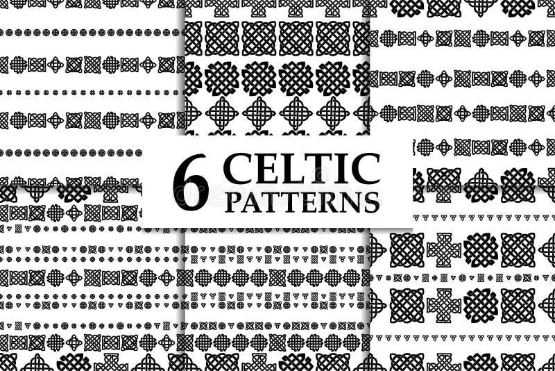Insieme in bianco e nero senza cuciture del modello del nodo celtico Sei ambiti di provenienza astratti etnici illustrazione vettoriale