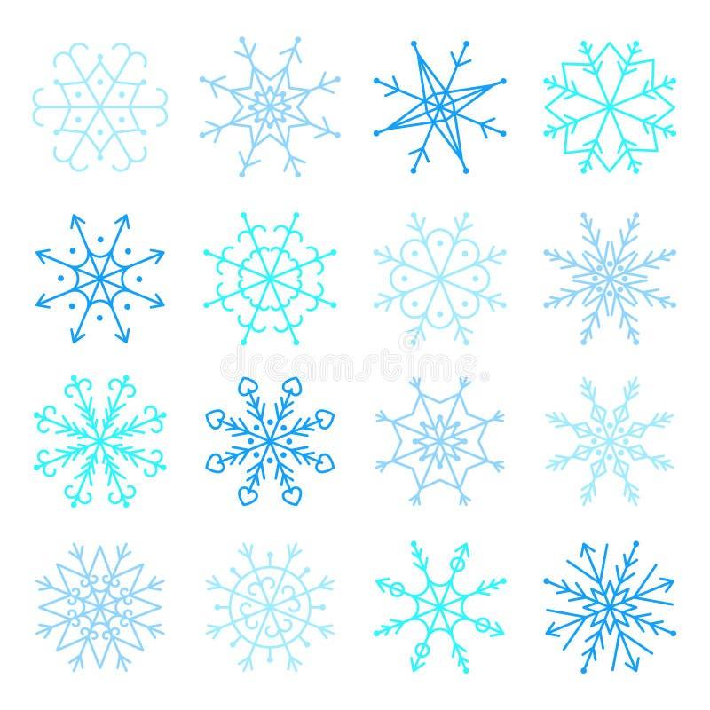 Insieme blu dell'icona del fiocco di neve di vettore Icone dei fiocchi di neve della raccolta royalty illustrazione gratis