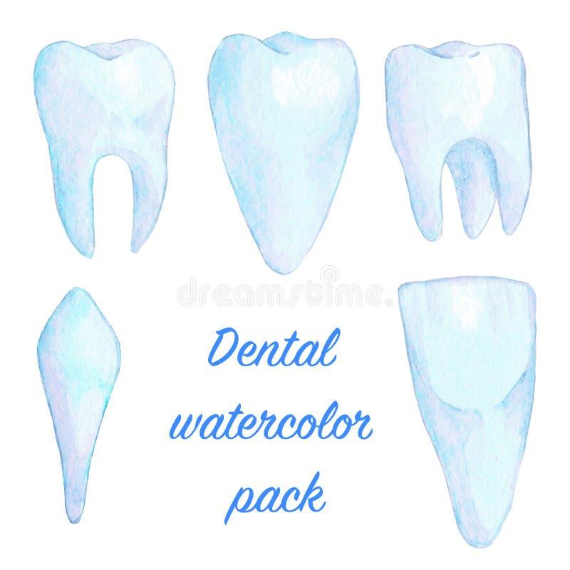 Insieme blu dell'illustrazione dei denti dell'acquerello illustrazione di stock