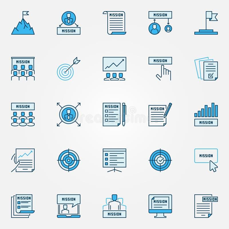 Insieme blu delle icone di dichiarazione di missione Segni di affari di vettore illustrazione vettoriale