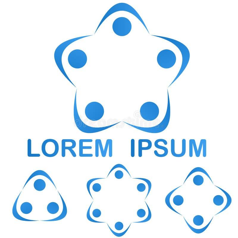 Insieme blu di progettazione di simbolo di logo del gruppo di lavoro di squadra illustrazione vettoriale