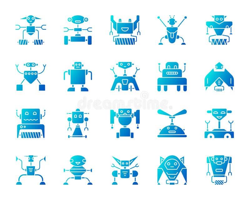 Insieme blu semplice di vettore delle icone di pendenza del robot illustrazione vettoriale