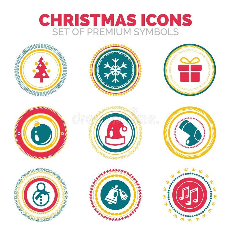 Insieme bolli rotondi di festa di celebrazione di Natale e del nuovo anno illustrazione di stock