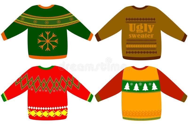 Insieme brutto di vettore dei maglioni di Natale immagini stock libere da diritti