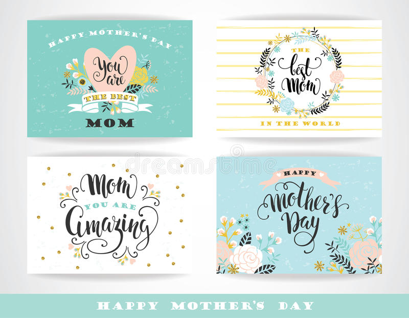 Insieme buona Festa della Mamma di iscrizione delle cartoline d'auguri con lettere con i fiori illustrazione vettoriale