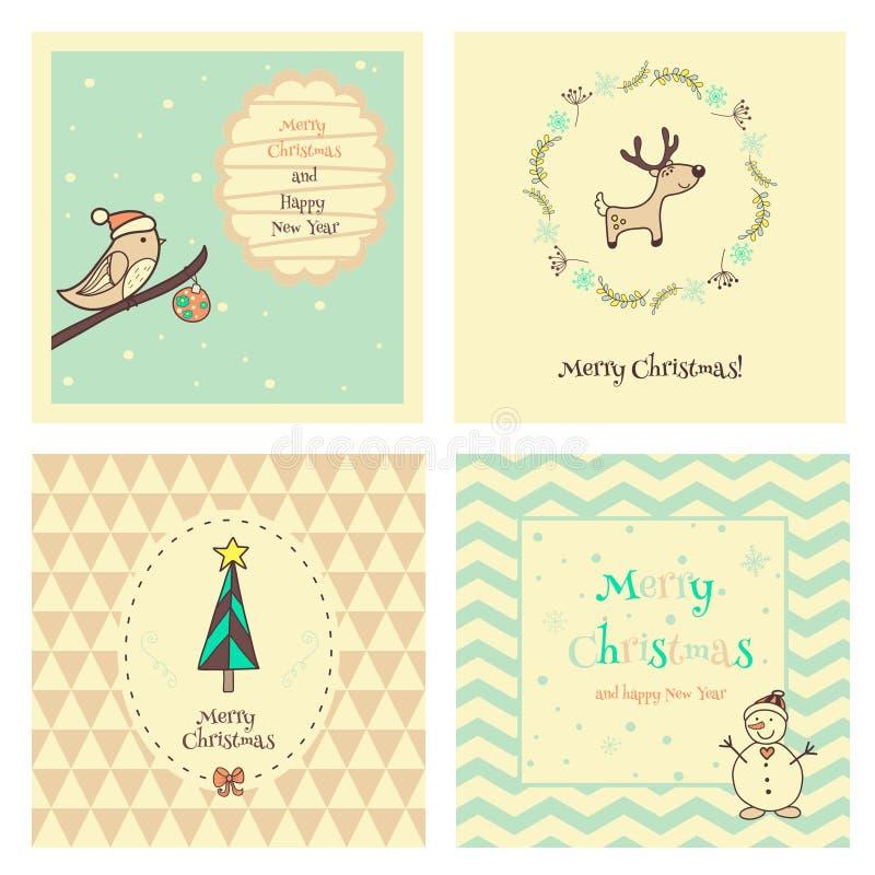 Insieme cartolina dell'annata del nuovo anno e di Natale royalty illustrazione gratis