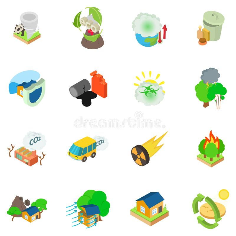 Insieme catastrofico delle icone di Eco, stile isometrico illustrazione vettoriale