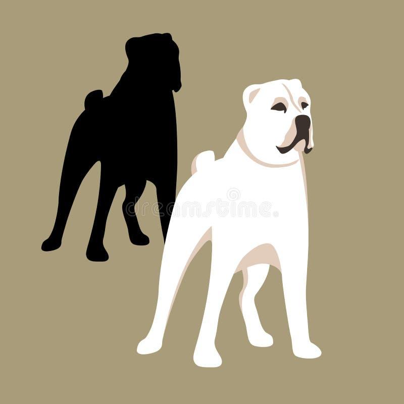 Insieme caucasico del piano di stile dell'illustrazione di vettore del cane da pastore royalty illustrazione gratis