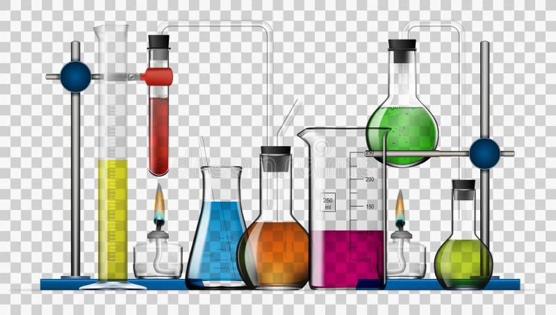 Insieme chimico realistico dell'attrezzatura di laboratorio Boccette di vetro, becher, lampade di spirito illustrazione vettoriale