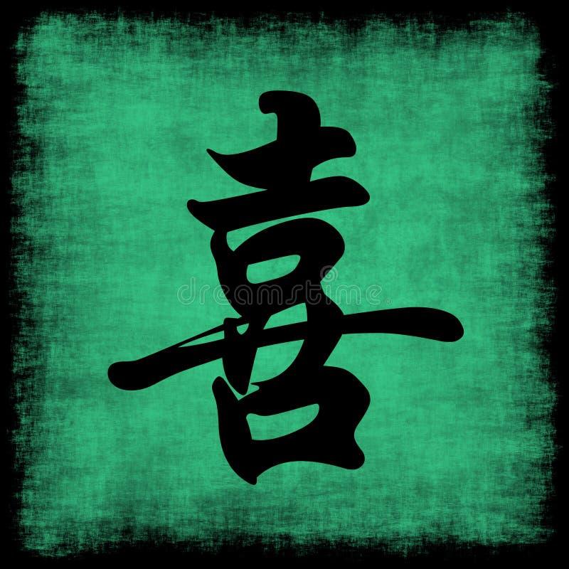 Insieme cinese di calligrafia di felicità illustrazione di stock